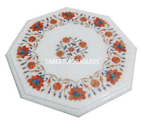 """24"""" Marble Coffee Table Top Inlay Carnelian Floral Stone Decorative Gifts H964"""
