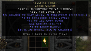 ✅PC/PS4/PS5/X-BOX✅ HELLFIRE TORCHE'S ALL CLASSES LOW/MED/HIGH STATS DIABLO 2 RES