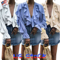 Women Victorian Ruffle Shirt Deep V Neck Chiffon Flounce Casual Tops Blouse US