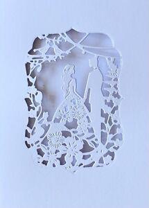 """3 Sets Wedding Bride Groom Floral Aperture 4""""x6"""" DIY White Cards + Envelopes 6pc"""