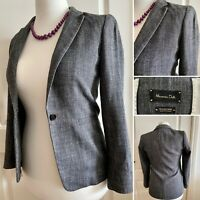 Massimo Dutti Grey Linen Blend Smart Work Office Jacket UK8 US4 Modern Sharp