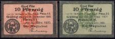 [8762] - 2 x NOTGELD PLESS (heute: Pszczyna), 2 x 10 Pf. Magistrat 1920, Tieste