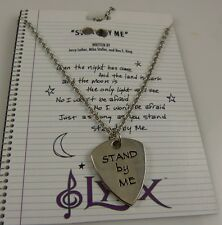 silvertone Stand by me  Necklace bling lyrics on charm 18 in guitar pick shape