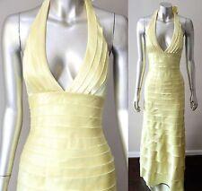 BCBG Max Azria Ruffle Tiered Halter Cocktail Sleeveless Dress Gown Sz 0 Xs $498