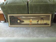 "Carlo of Hollywood Original Seascape, Mid-Century Modern, Sofa Size, 63"" x 19"""