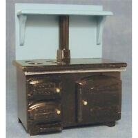 Solid Fuel Style Stove Black and Blue 1:12 Scale for Dolls House Kitchen