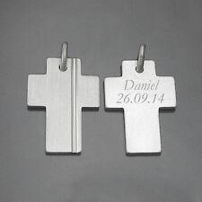 Männer Kreuz mit Gravur Silber 925 Anhänger mit 60 cm Kautschuk Kette schwarz