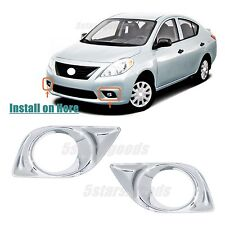 Accessories Chrome Pair Front Fog Light Covers For Nissan Versa 2012 2013 2014