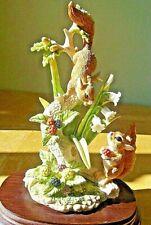 "9.5"" high 1991 Red Squirrels In Autumn -Nature Studies + Plinth Leonardo Exc Cdn"