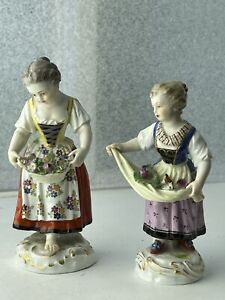 Two ANTIQUE MEISSEN Figurines No.5, No.6 Gardener Children Flower Girls Kaendler