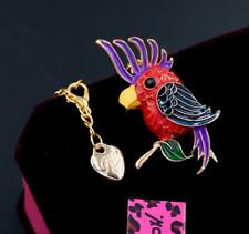 New Betsey Johnson Rhinestone red enamel bird Pendant Necklace Chain Brooch