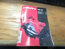 Hilti Wsc 167 Cordless Circular Saw Operating Instructions Only