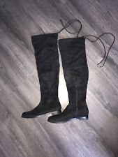 Ladies Black Over The Knee Flat Boots Size 4