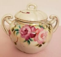 Vintage Porcelain Sugar Bowl with Lid Double Handle  Rose Bud Japan. TT