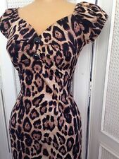 Collectif London Dress Delores  Feral Print Wiggle Retro 1950s New Sz8 XS