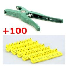 Applicator Puncher Tagger & 100 Set Ear Tag Pig Plier Sheep Goat Hog Cattle Cow