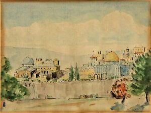Temple Mount ANTIQUE PAINTING JUDAICA  Watercolor  Palestine ISRAELI