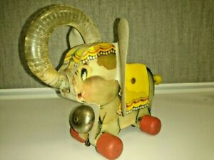 "Vintage 1959 Fisher Price ""Juggling Jumbo"" Pull Toy Elephant #735 - LQQK"