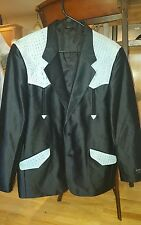 SAXIFON USA MEN'S ROCKABILLY BLAZER WESTERN JACKET COAT BLACK / BLUE SZ  46
