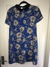 Vintage Style Blue Floral Tea Dress Spring Flower Collar Nautical Short Sleeve