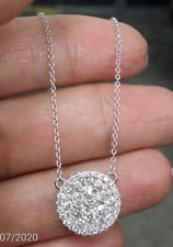 Deal! 1.10CT Genuine Round  Cluster Diamond Pendant Charm 14K Gold with Chain