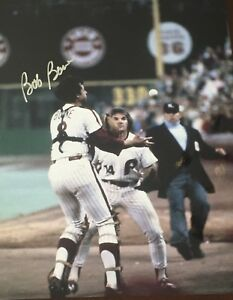 BOB BOONE PETE ROSE 1980 PHILADELPHIA PHILLIES BOBBLE CATCH SIGNED 11X14 #2