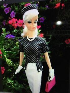 Gimbel's Little Garments for Barbie Silkstone White w Black Dress Hat Pink Bat