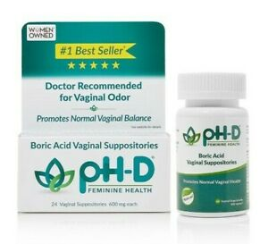 pH-D Feminine Health 600 mg Boric Acid Vaginal Suppositories, 24 ct & 72 ct