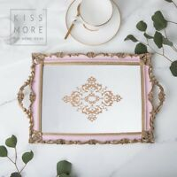 Beautiful Pink Gold Serving Rococo Vanity Tray With Mirror wedding cakestand