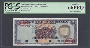 Guatemala 5 Quetzales ND(1964-1971) P53s P Specimen TDLR N002 UNC Grade 66
