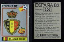 ***ESPANA 82 - PANINI*** SCUDETTO BELGIQUE-BELGIE  NUOVO CON RETRO N. 200