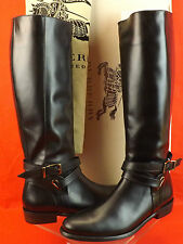 NIB BURBERRY BLACK BRIDAL LEATHER ADELAIDE TALL FLAT BELT RIDING BOOTS 40.5 9.5