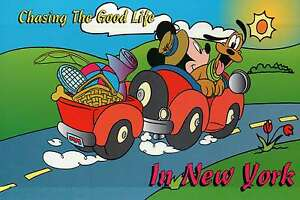 Mickey Mouse and Pluto are Chasing The Good Life in New York --- Disney Postcard