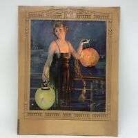 Vintage 1920's Art Deco Gene Pressler Print One Night In June Lady Lantern
