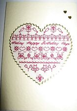 """Birthday Card Completed Cross Stitch Words in a Heart 6x4"""""""