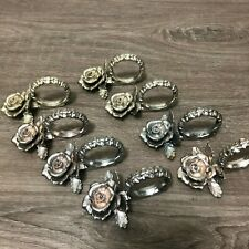 Vintage Set of 8 Heavy Metal Silver & Rose Gold Tone Rose Floral Napkin Rings