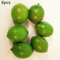 6*Artificial Plastic Limes Lemons Fake Fruit Realistic Home Decor Props Lifelike