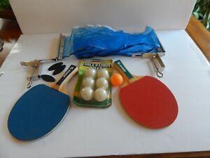 Sportcraft Table Tennis Set 2 Wood Paddles, NSG Table Tennis Balls Ping Pong Net