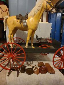 Vintage Marx Johnny West Buckboard Wagon/horses, figures, accessories