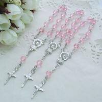 Baptism Favors (24 PCS) Mini Pink Glass Mini Rosary Christening Wedding JA378Pnk
