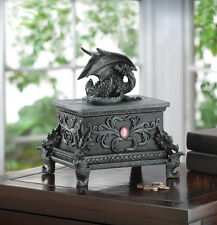New Gothic Gifts Decor Mythical Black Winged Dragon Trinket Jewelry Box Dungeon