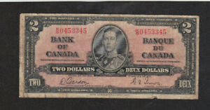 2 DOLLARS VG BANKNOTE FROM BRITISH CANADA 1937  PICK-59
