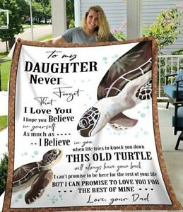 Turtle Dad To My Daughter Never Forget That I Love You Sherpa Blanket