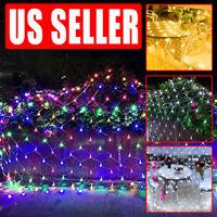 Xmas LED Net Lights 200LED Fairy String Lamp Decorative Mesh Wedding Decor US