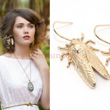 US Ship Gothic Cicada Insect Design Carved Gold Hook Jewelry Dangle Earrings