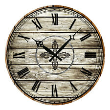 38cm Vintage Rustic Style Painted Roman Numeral Wooden Wall Clocks Home Decor