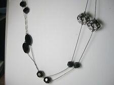 Vintage Cut Black Glass Stones & Large Rhinestone Rondells Titanium Necklace