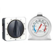 2pcs 60-minute Countdown Kitchen Oven Reminder Mechanical Timer Thermometer Kit