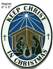Keep Christ in Christmas Magnet for the Car- Spread the Word! Blue & White