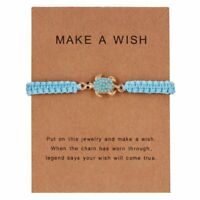 Adjustable Infinity Turquoise Turtle  Friendship Bracelet Make A Wish Women Gift